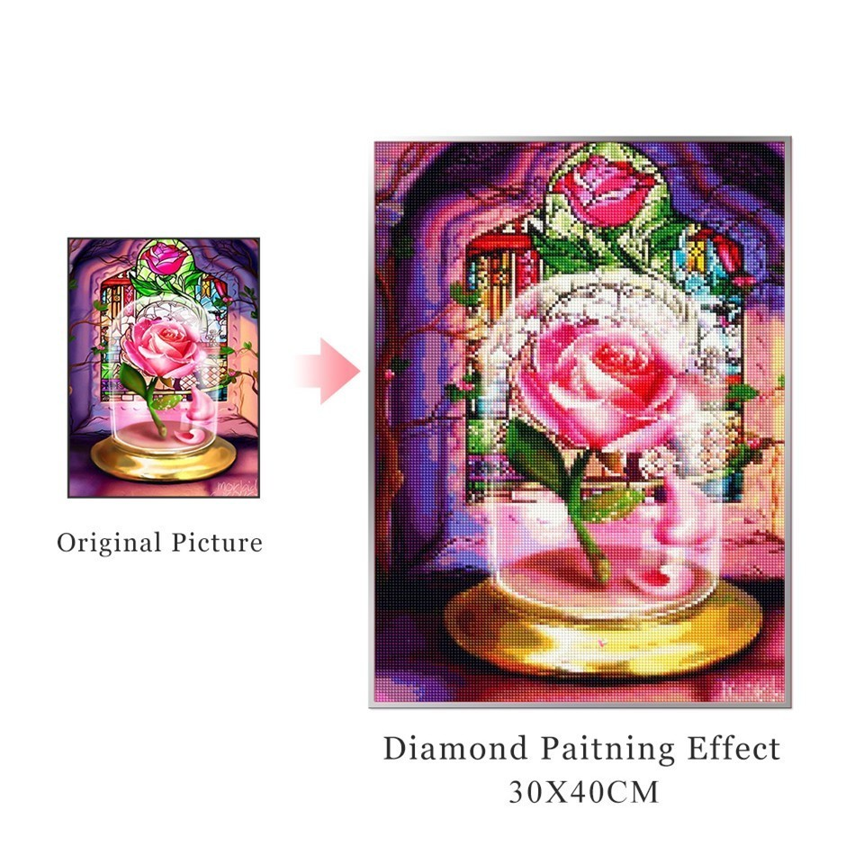 AZQSD Diamond Mosaic Flowers Cross Stitch Diamond Painting Pink Rose Home Decor Handicrafts Gift Picture Of Rhinestones Crafts in Diamond Painting Cross Stitch from Home Garden