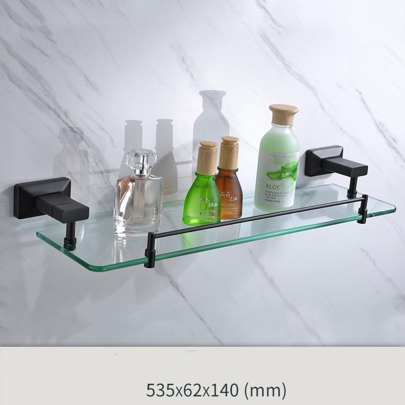 Newest Matte Black brass and glass Bathroom Hardware Accessory single tier glass shelf