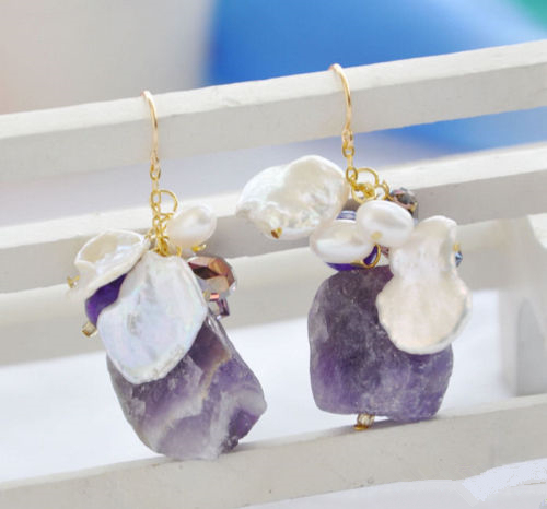 LiiJi Unique White Keshi Baroque Keshi Pearl Amethysts Dangle Earring