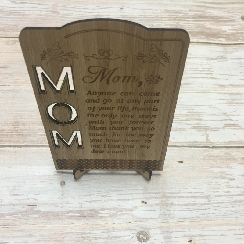 laser cut engraved mother day greeting card bamboo wood greeting card mothers day gift (5)