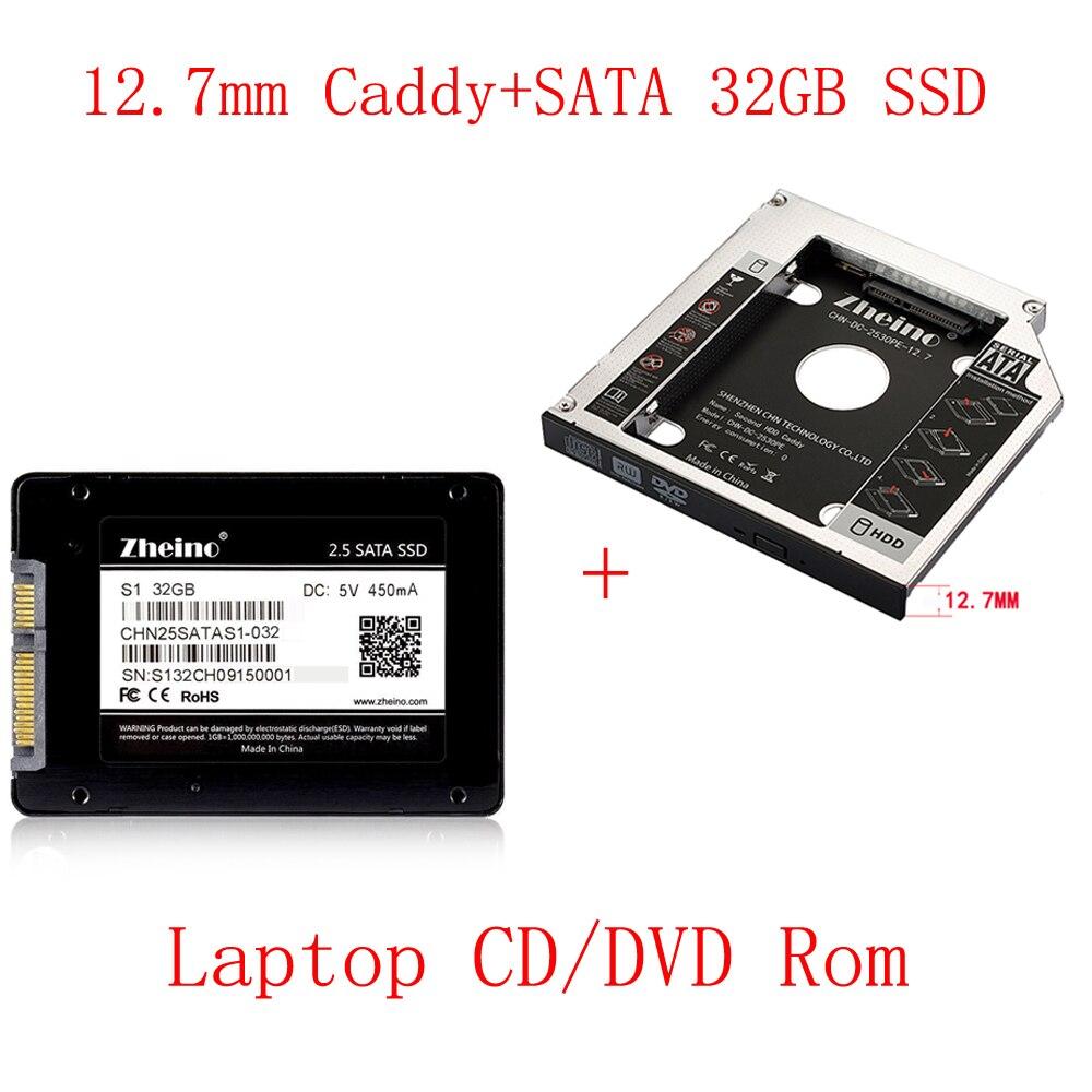 Zheino SATAIII 32 ГБ SSD с Алюминий 12,7 мм Кэдди ноутбук 2nd Sata SSD HDD Frame кэдди адаптер залива CD /DVD-ROM оптическая для ноутбука