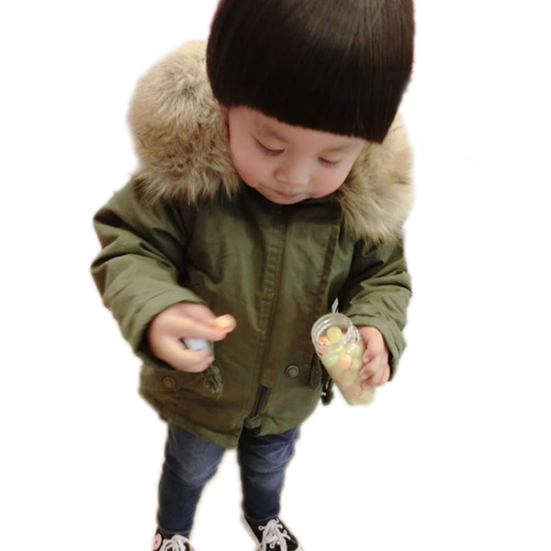2016 Baby Boy Clothes Fleece Kid Outwear Boy Winter Jacket Detachable Fur Collar Boy Winter Coat Cotton-Padded Children Clothing