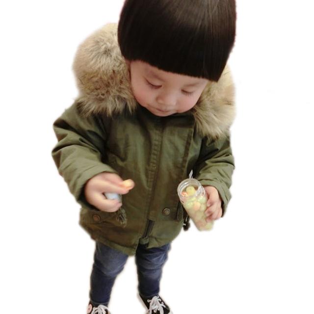 2016 Roupas de Bebê Menino Fleece Garoto Outwear Menino Jaqueta de Inverno Destacável Gola De Pele Casaco de Inverno Menino de Algodão-Acolchoado Crianças roupas