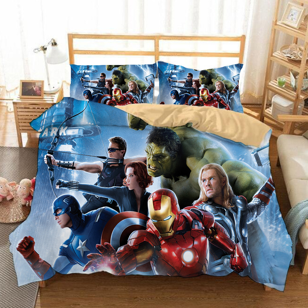 Spiderman 3D Printed Bedding Set The Avengers Duvet Covers Marvel Iron Man Thor Captain America Bedclothes Bed Linen (NO Sheet)
