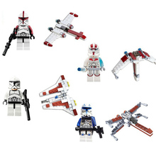 SY STAR WARS 4pcs/lot White Corps Spaceship Clone Building Blocks Minifigures Bricks Action Figures Anime Toys