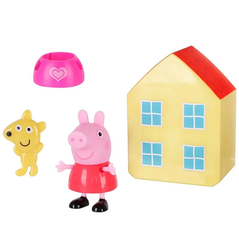 Original box Genuine PEPPA PIG lovely mini house set peppa with teddy bear George with Dinosaur disassembly change clothes toy art