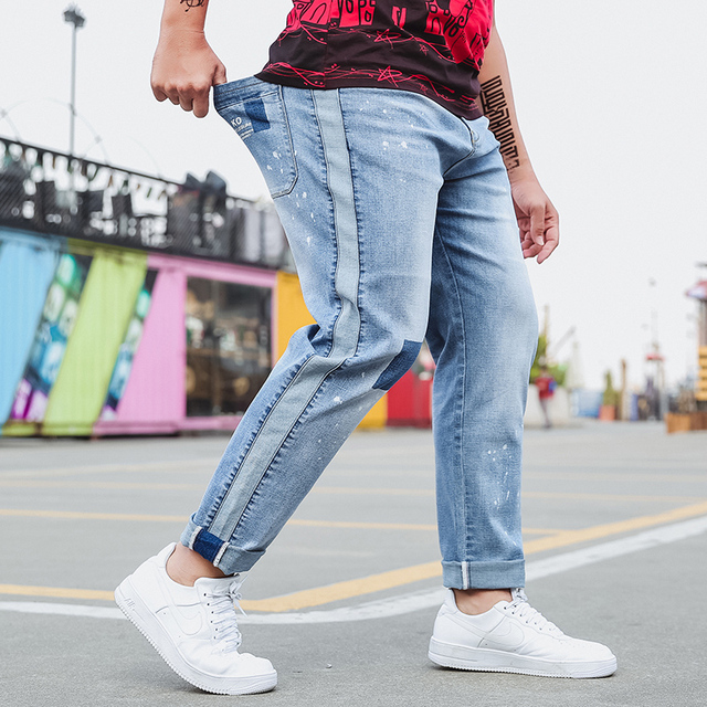 cacb8c93f2 Más tamaño s-6xl hombres azul claro Vaqueros baggy Pantalones cargo Denim  Loose straight algodón