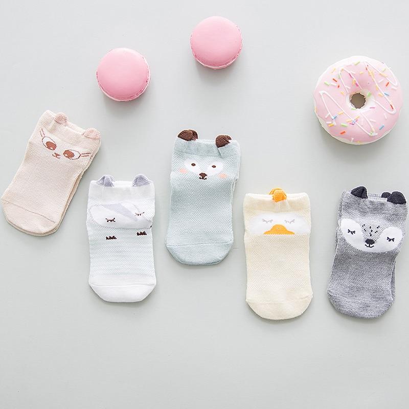 5 Pairs Socks Set  Newborn Infant Boys Girls Socks Kawaii Cartoon Animal Design  Breathable Soft Cotton Socks