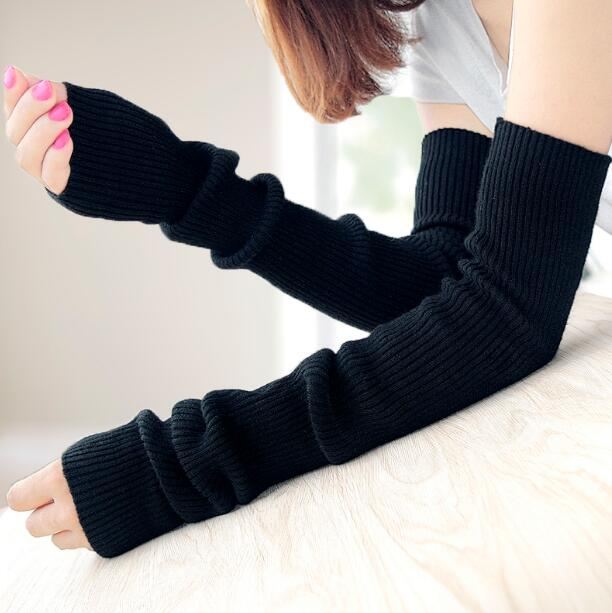Women's Wool Knitted Long Gloves Lady's Elastic Cashmere Black Long Arm Sleeve Winter Warm Arm Warmer 40cm 50cm 60cm R141