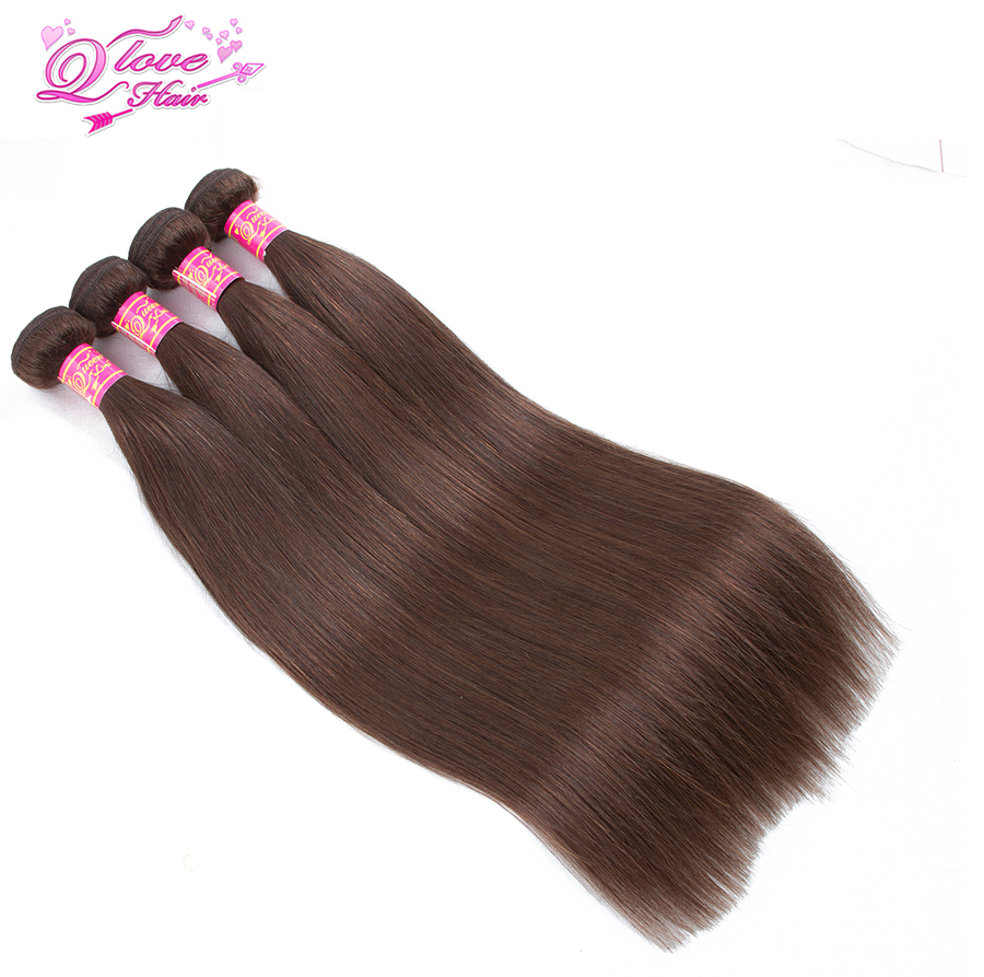 Queen Love Hair Pre-Colored Peruvian Straight Hair Bundles 100% Human Hair 4 Bundles Extensions 10-26 #4 Non-Remy Hair