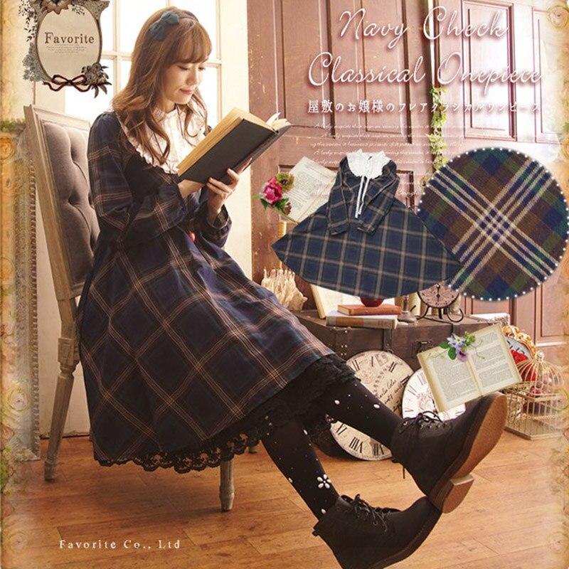Harajuku Vintage robe à carreaux femmes rétro mignon lâche Plaid Bottoming col montant Mori fille à volants Femake robe douce A175
