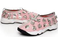 2015 Summer Handmade Diamond Mesh Embroidery Flats Sequin Flower Heavy Bottomed Shoes For Women