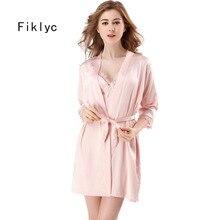 Fiklyc marke frauen neue design satin & spitze floral patchwork frühling robe & kleid sets sleep & lounge weibliche zwei stücke nachtwäsche