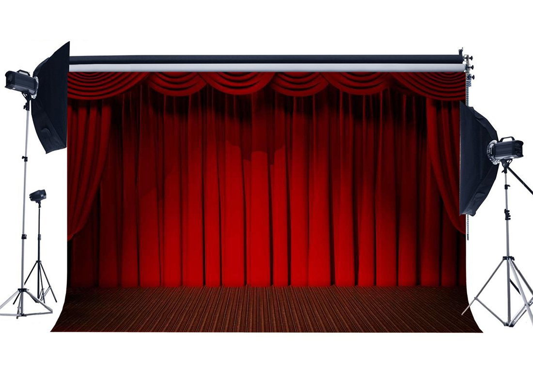Interior Stage Lights Red Curtain Backdrop Band Concert Backdrops Interior Theatre Graduation Ceremony Background-in Photo Studio Accessories from Consumer Electronics