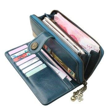 2018 New Vintage Button Phone Purses Women Wallets Female Purse Leather Brand Retro Ladies Long Zipper Woman Wallet Card Clutch