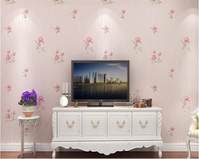 beibehang Romantic pastoral pink flower 3D embossed nonwoven wall paper warm living room TV background wallpaper for walls 3 d sale european simple luxury beige gold damask wallpaper for walls 3 d classic deep embossed tv room living room wall paper home