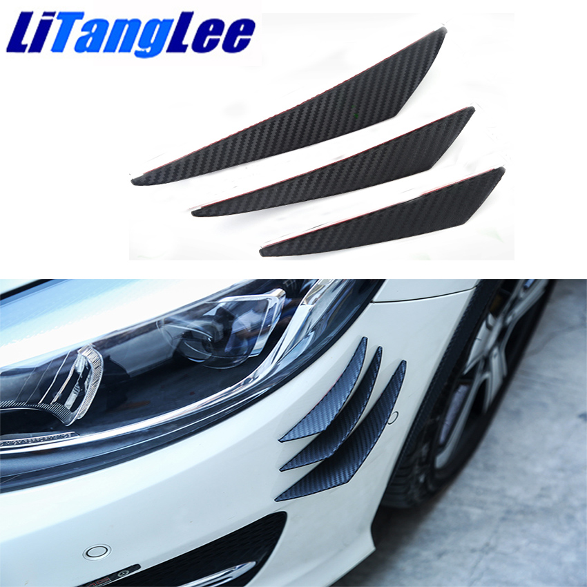 Auto Replacement Parts Generous Litanglee For Nissan Sunny B14 B15 N16 N17 Six Pieces Car Bumper Air Knife Black Carbon Fiber Avoid Collisions Canards Styling