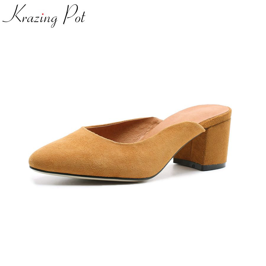 Krazing Pot fashion leisure slingback mules high heels kid suede solid slip on pointed toe elegant office lady pumps shoes L21 krazing pot kid suede zip breathable