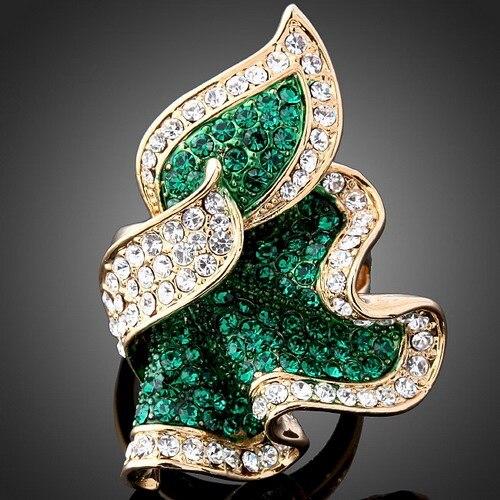 Высокая-класс качество тонкий поставки товаров со стразами зеленый кристалл кольцо Листья - Цвет основного камня: Green