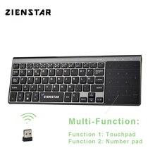 Zienstar Spaans 2.4 Ghz Draadloze Toetsenbord met Touchpad en Nummer Pad voor Windows PC, Laptop, Ios pad, smart TV, HTPC, Android Doos