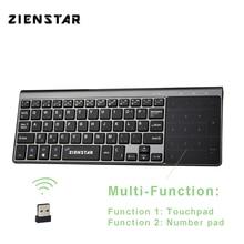 Zienstar Spagnolo 2.4 Ghz Tastiera Senza Fili con il Touchpad e Tastierino Numerico per Finestre PC, Computer Portatile, Ios pad, smart TV, HTPC, Box Android