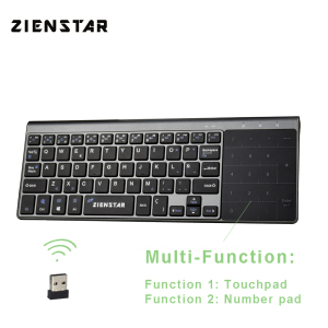 Image 1 - Zienstar Spanish 2.4Ghz Wireless Keyboard with Touchpad and Number Pad for Windows PC,Laptop,Ios pad,Smart TV,HTPC,Android Box