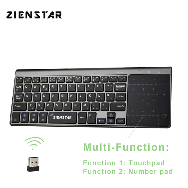 Zienstar Spanish 2.4Ghz Wireless Keyboard with Touchpad and Number Pad for Windows PC,Laptop,Ios pad,Smart TV,HTPC,Android Box