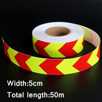 50mx5cm Motorcycle decoration Reflective Strips Glue Stickers For Car Styling Automobiles Arrow Safety Warning Tape Yellow&Red