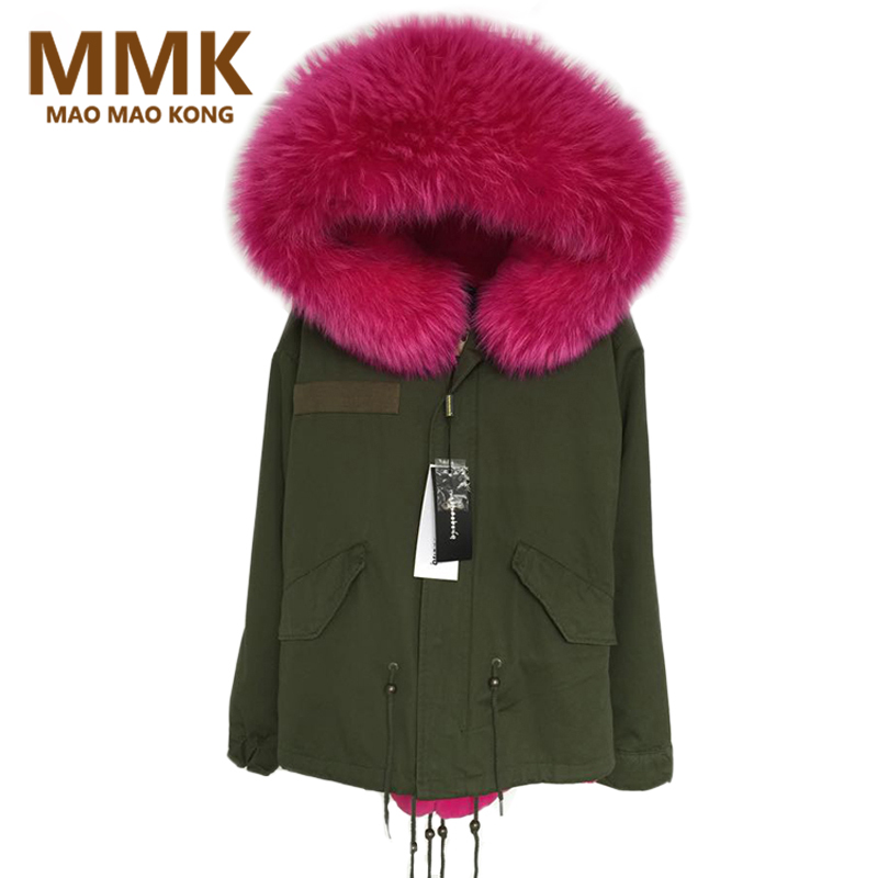 Mao Mao Kong 2018 New Women Winter Army Green Jacket Coats Thick   Parkas   Large Real Raccoon Fur Collar Hooded Outwear