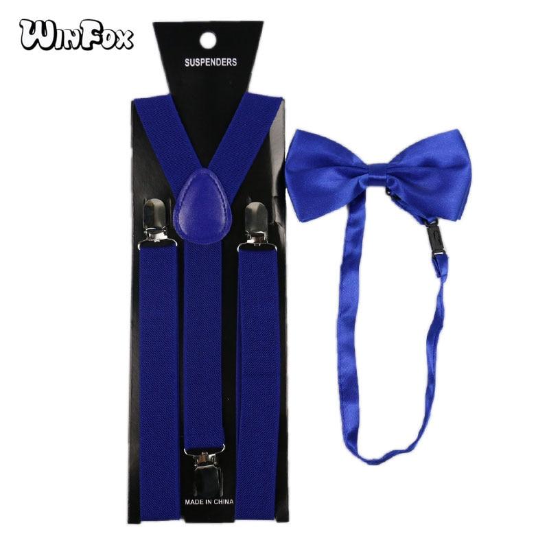 Winfox Fashion Royal Blue Women Men Suspenders Bow Tie Set 2.5cm Wide Solid Elastic Suspenders And Bowtie Shirt Braces