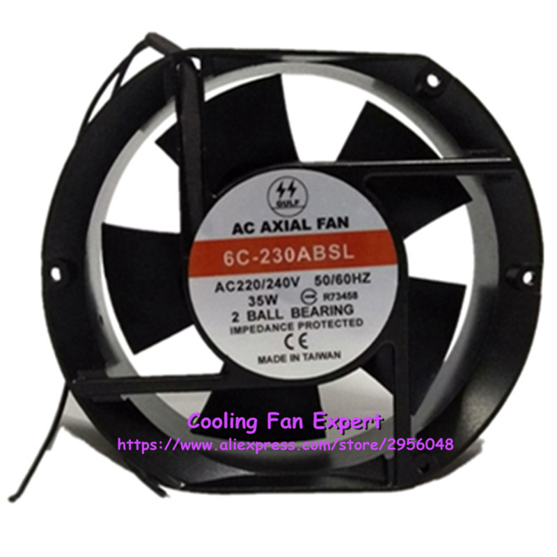 6C-230ABSL Cooling Fan AC 220V/240V 35W 50/60HZ 17251 17CM 172*150*51mm 2 Wires delta new efb1548vhg 17251 17cm 48v 0 83a circular drive cooling fan for 172 172 51mm