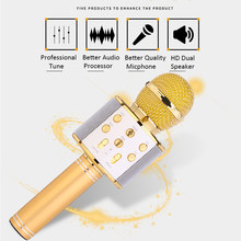 WS-858 Bluetooth Wireless Karaoke Handheld Microphone USB KTV Player Bluetooth Mic Speaker Record Music(China)