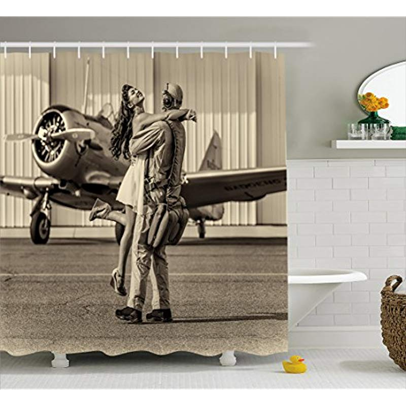 Vixm Vintage Airplane Shower Curtain Brunette Young Woman Hugging A Pilot Historic Aircraft Homecoming Fabric Bath Curtains