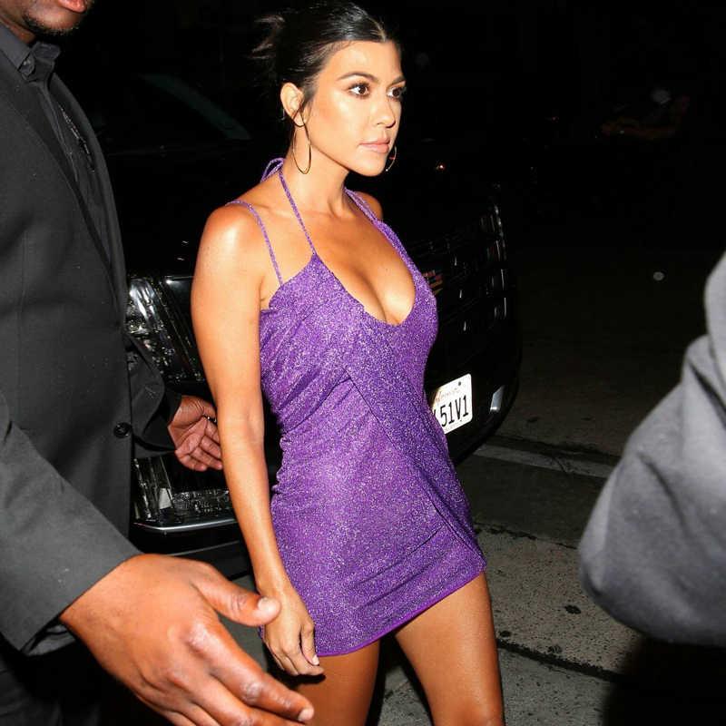 Tobinoone 2018 Kendall Jenner платье для дня рождения со сверкающими блестками платье с открытой спиной мини Vestidos модная женская одежда для ночного клуба