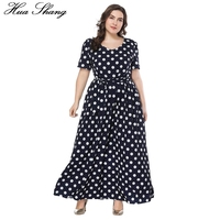 6XL 7XL Long Dress Summer Plus Size Polka Dot Boho Dress V neck Short Sleeve Sashes Belt Female New Fashion Elegant Beach Dress
