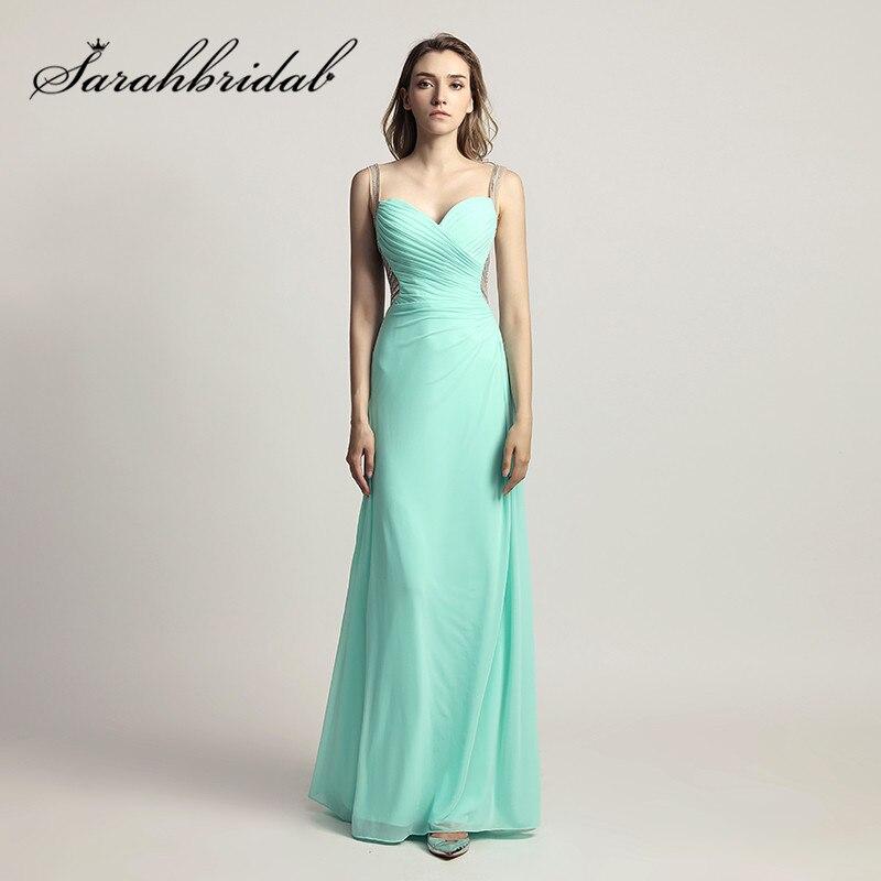 fe447d89146 Menthe longues robes de soirée en mousseline de soie avec dos nu mode perles  pas cher robes de bal longueur de plancher LX467 dans Robes De Soirée de ...