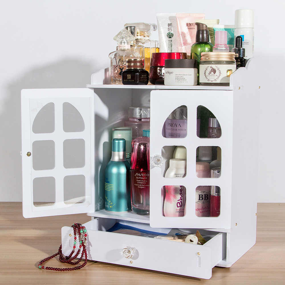 Cosmetic Table Dressing Table Plastic Cosmetic Organizer With Drawer Waterfroof Classical Makeup Box For Storage Make Up Earrings Cosmetics New