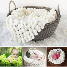 Pompom Blanket Baby Photography Popcorn Blankets Backdrops Textured Rug Mat Pompon Basket Filler Newborn Photo Props 80*60CM(China)