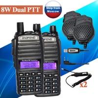 2ピースbaofeng uv-8ワットデュアルバンドwalkyトーキーUV-82HXアマチュア無線受信機communicator uv 5r GT-3TPポータブルトランシーバーセッ