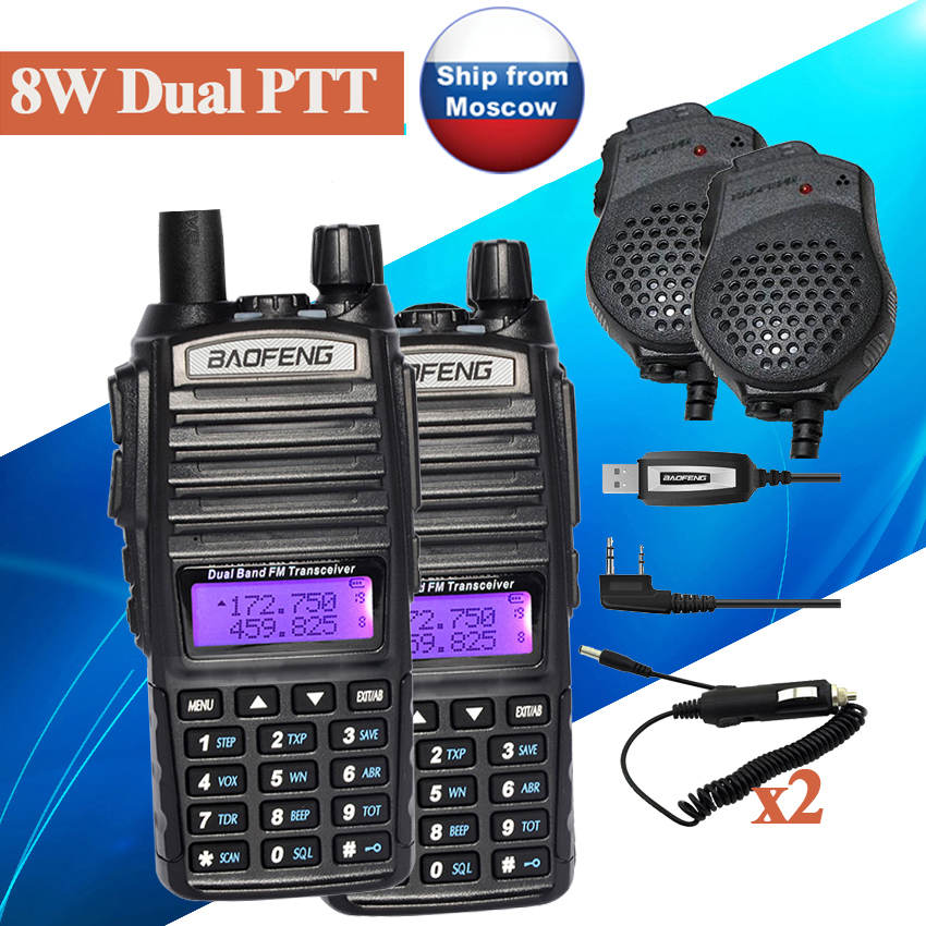 2 pcs BaoFeng UV-82 8 W Dual Band Talkie Walkie UV-82HX jambon Radio récepteur Communicateur UV 5R GT-3TP Portable Talkies-walkies ensemble