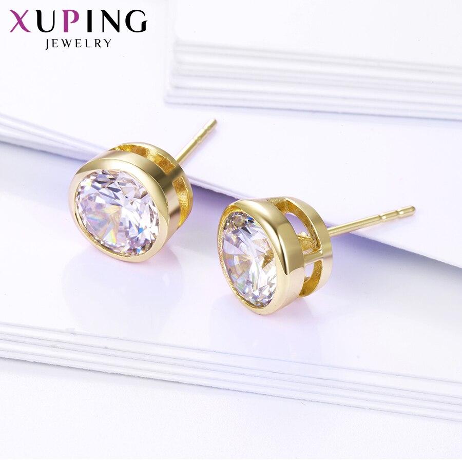 Xuping Elegant Sırğalar Yeni Dizayn Qızıl Rəngli Sintetik kubik - Moda zərgərlik - Fotoqrafiya 5