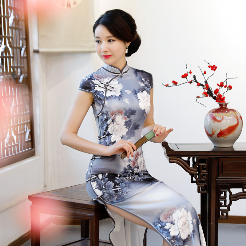 Women 2019 New Silm Qipao Chinese Traditional Mandarin Collar Cheongsam Satin Print Flower Dress Sexy Lady M 3XL Dance Clothing