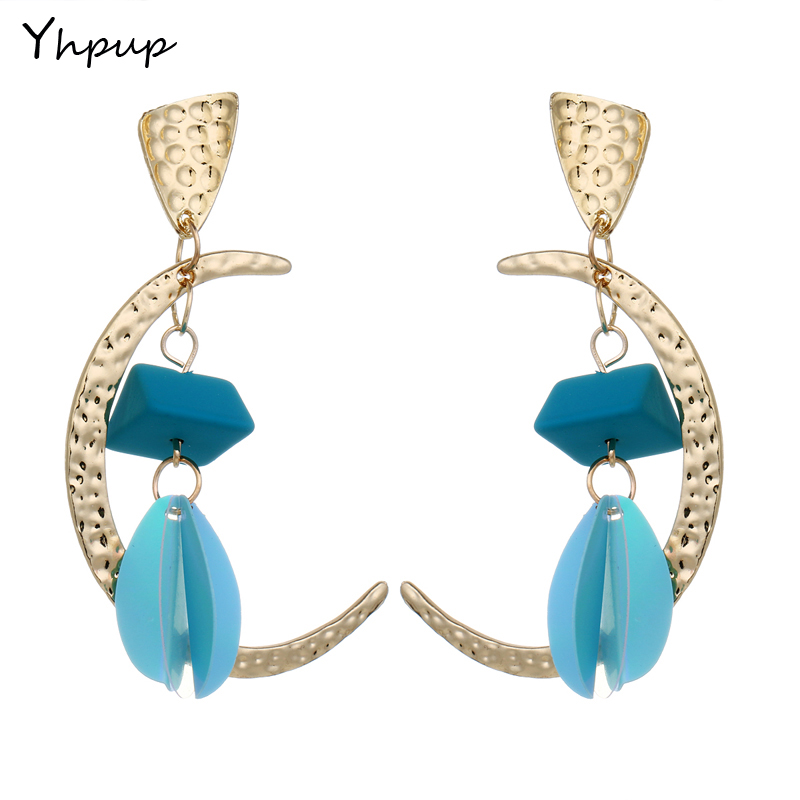 Yhpup Newest Paillette Trendy Moon Flower Dangle Charm Cute Earrings For Women Wedding Party Des boucles doreilles Gift
