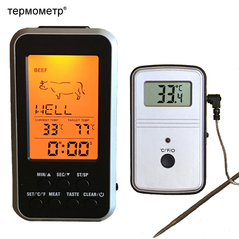 Digital BBQ Thermometer Wireless Kitchen Oven Food Cooking Grill Perokok Daging Merokok dengan Probe dan Pemasa Suhu Pemasa