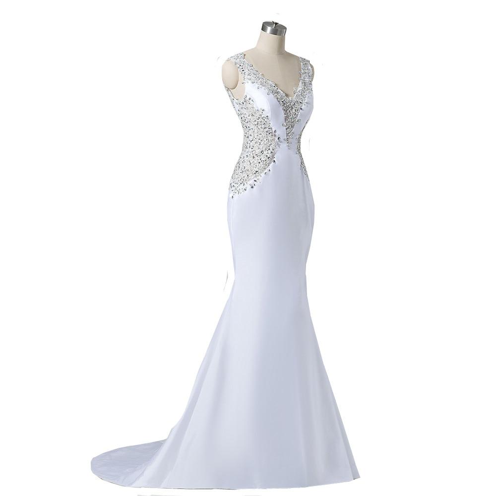 MDBRIDAL Women White Satin Wedding Gown Low Cut Back