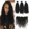 Orelha a orelha fechamento kinky rendas frontal com 3 feixes brasileira cabelo virgem encaracolado com frontal afro crespo cabelo humano com fecho