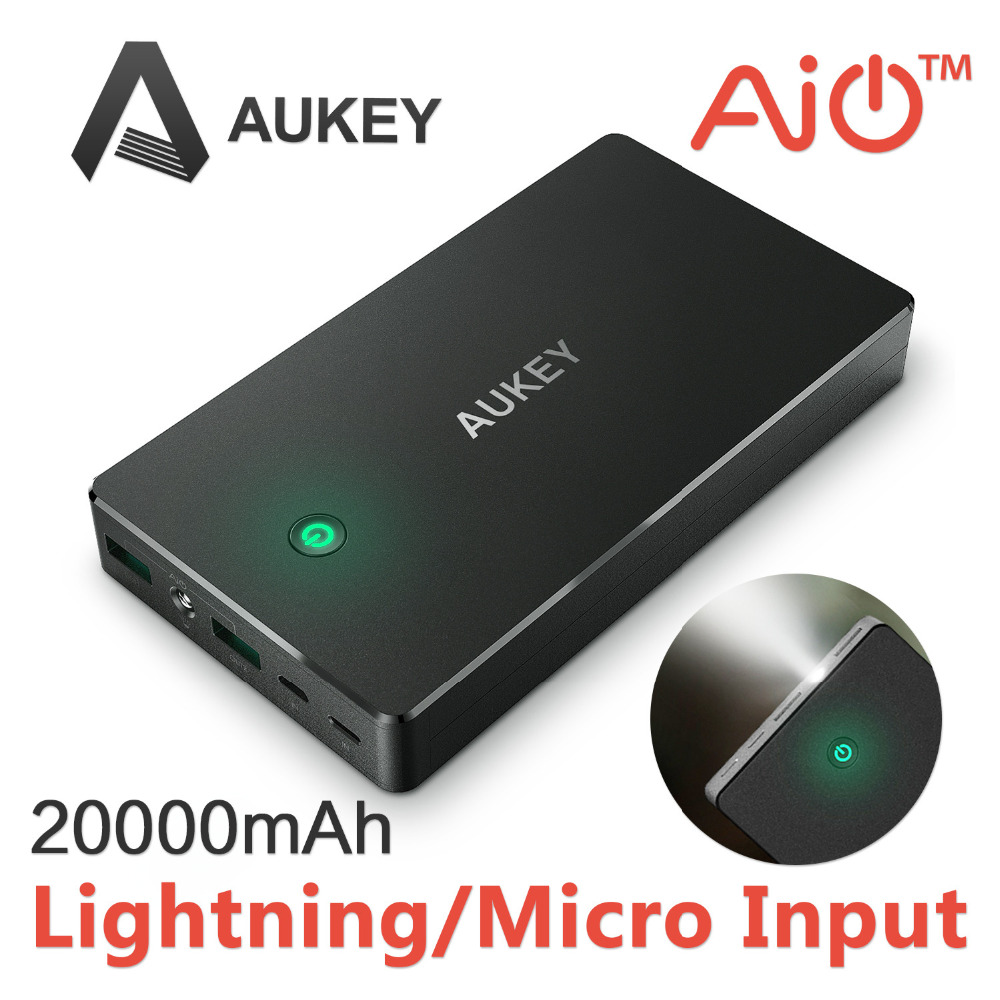 Lightning Input Micro Input Aukey 20000mAh Portable Charger External font b Battery b font Power Bank