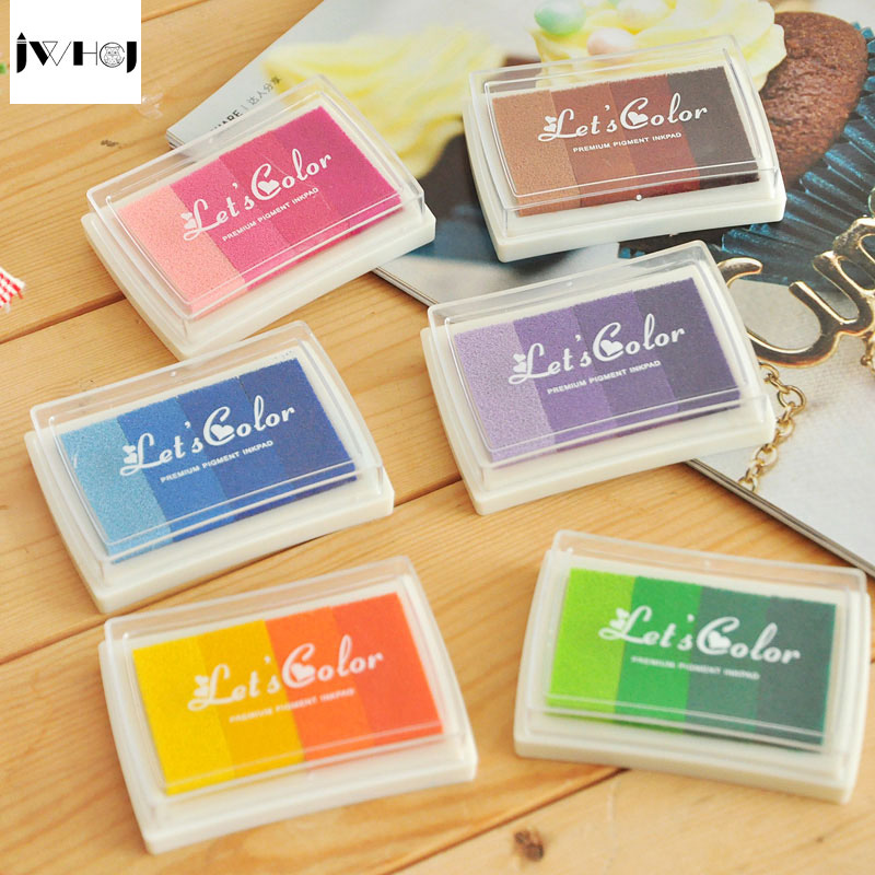 1 pcs Small candy color rainbow stamp inkpad Kids DIY Handmade Scrapbook Photo Album students Stamps inkpad Arts,Craft gift