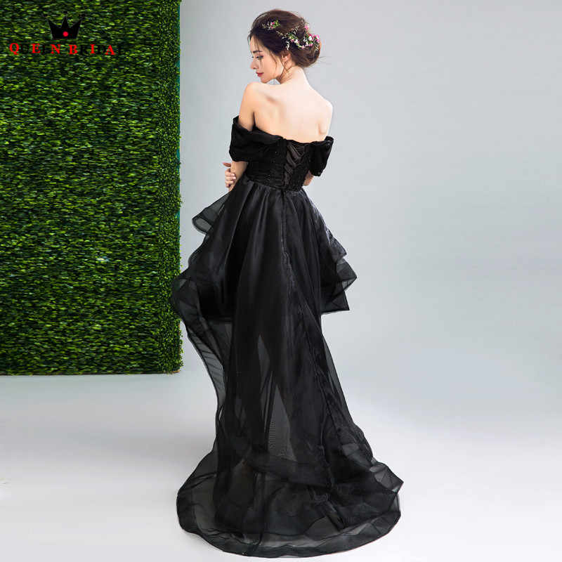 ... QUEEN BRIDAL Evening Dresses High Low Cap Sleeve Black Short Prom Women  Party Dress Evening Gown ... fd2ac1b46f63