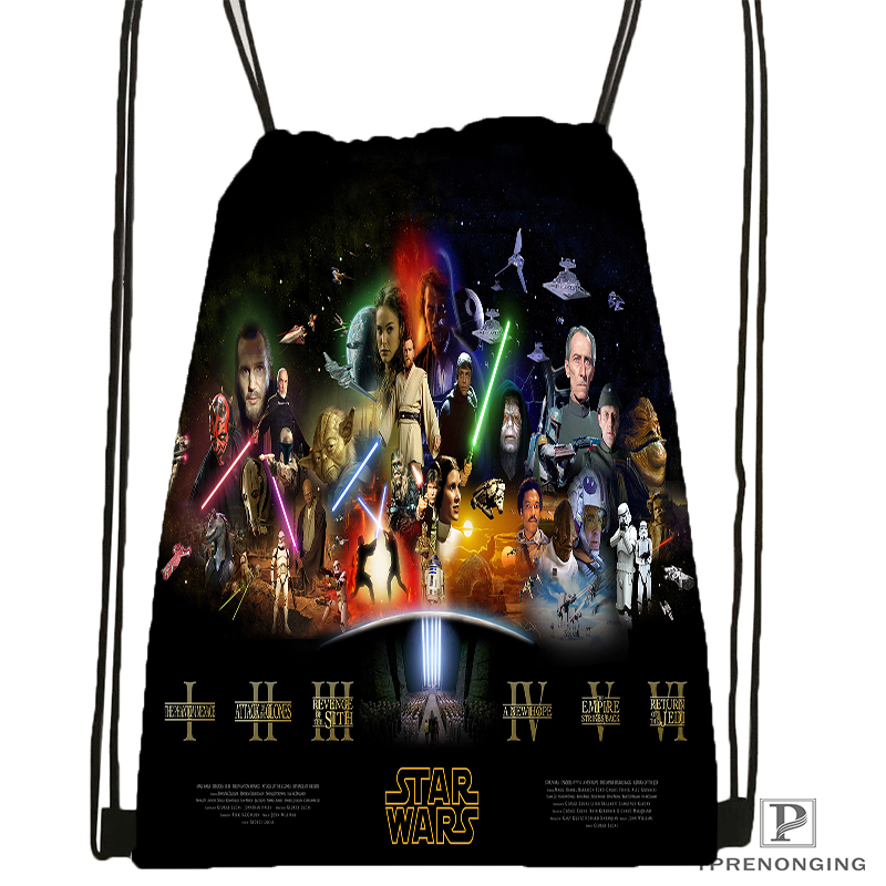 Custom Star War Marvel Drawstring Backpack Bag Cute Daypack Kids Satchel (Black Back) 31x40cm#180531-02-54